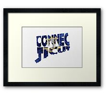 Connecticut Typographic Map Flag Framed Print
