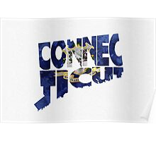 Connecticut Typographic Map Flag Poster