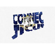 Connecticut Typographic Map Flag Photographic Print