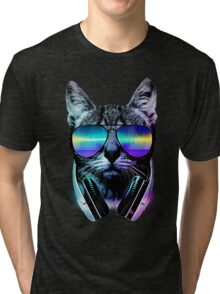 Music Lover Cat Tri-blend T-Shirt