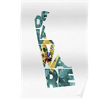 Delaware Typographic Map Flag Poster