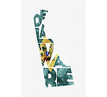 Delaware Typographic Map Flag Photographic Print