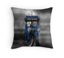 Mysterious Time traveller with Black suit Throw Pillow