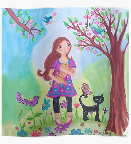 Girl with Cats, birds and a butterfly Poster