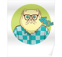 Cool Funny Hipster Cat Graphic Poster