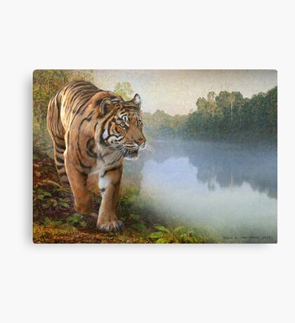 Karnataka tiger on the river Canvas Print