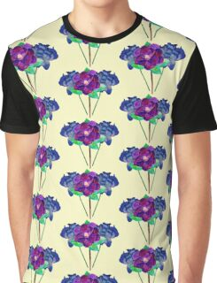 Blue and Purple Flowers Watercolo Painting Graphic T-Shirt