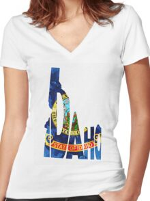 Idaho Typographic Map Flag Women's Fitted V-Neck T-Shirt