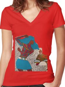 Psychedelic Paisley Rock n roll Women's Fitted V-Neck T-Shirt