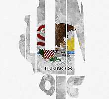 Illinois Typographic Map Flag by A. TW
