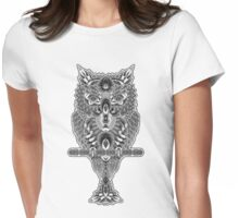 When The Owl Sings - BW Womens Fitted T-Shirt