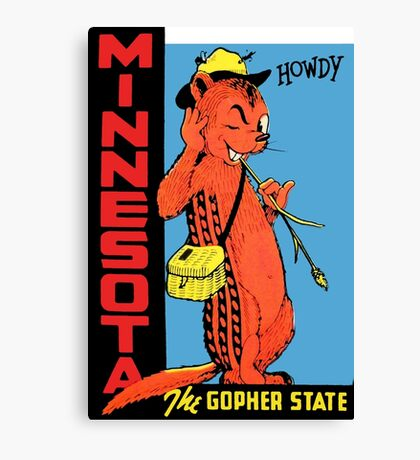 Minnesota The Gopher State Vintage Travel Decal Canvas Print