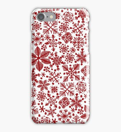 SNOWFLAKES for CHRISTMAS, a bubble of red snowflakes iPhone Case/Skin