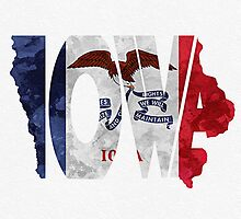 Iowa Typographic Map Flag by A. TW