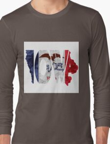 Iowa Typographic Map Flag Long Sleeve T-Shirt