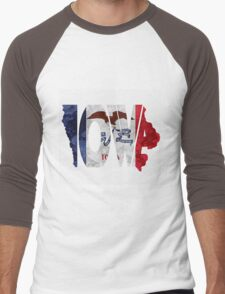 Iowa Typographic Map Flag Men's Baseball ¾ T-Shirt