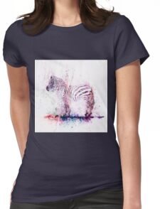 Watercolor Wash Zebra Womens Fitted T-Shirt