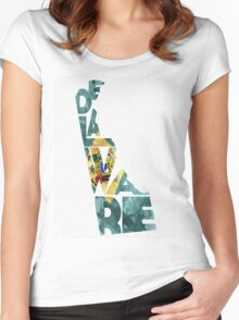 Delaware Typographic Map Flag Women's Fitted Scoop T-Shirt