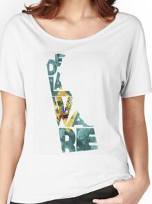 Delaware Typographic Map Flag Women's Relaxed Fit T-Shirt