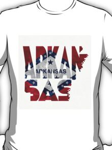 Arkansas Typographic Map Flag T-Shirt