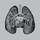Anatomical Lungs Black on Grey by Beth Thompson