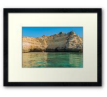 Scenic golden cliffs near Alvor, Portimao, Algarve Framed Print