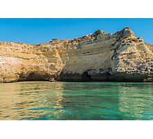 Scenic golden cliffs near Alvor, Portimao, Algarve Photographic Print