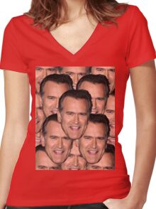 Bruce Campbell Evil Dead Head Shot Women's Fitted V-Neck T-Shirt
