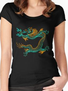 Chinese Dragon (orange/aqua) Women's Fitted Scoop T-Shirt