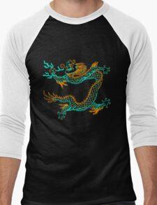 Chinese Dragon (orange/aqua) Men's Baseball ¾ T-Shirt