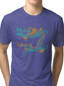 Chinese Dragon (orange/aqua) Tri-blend T-Shirt