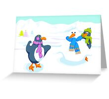 Penguins snowball fight Greeting Card