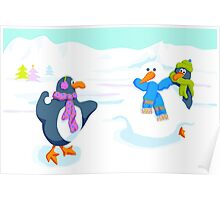 Penguins snowball fight Poster