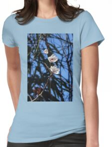 White Cherry Blossoms Womens Fitted T-Shirt