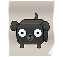Pit Bull Loaf - Black Pitbull with Floppy Ears Poster