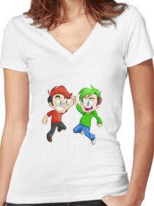Two Halves of the Same Idiot Women's Fitted V-Neck T-Shirt