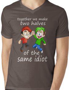 Two Halves of the Same Idiot Mens V-Neck T-Shirt