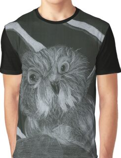 White Pencil Owl Graphic T-Shirt