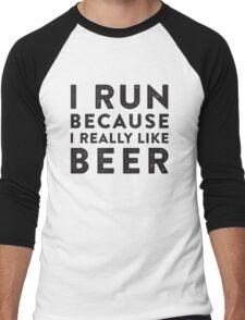 I Run Because I Really Like Beer Men's Baseball ¾ T-Shirt