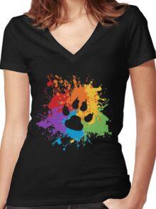 Pride Splash - Furry Pride Women's Fitted V-Neck T-Shirt