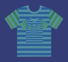 Blue green stripy nested t shirts by Leebling