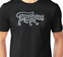 Tiger Mono White on Black Unisex T-Shirt