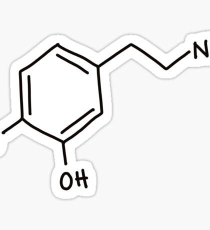 Dopamine molecule sticker, hand drawn molecular structure Sticker