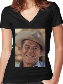 President Ronald Reagan Women's Fitted V-Neck T-Shirt