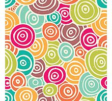 Cute retro doodle colorful pattern Photographic Print