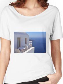 White architecture and chairs and table in Santorini, Greece Women's Relaxed Fit T-Shirt