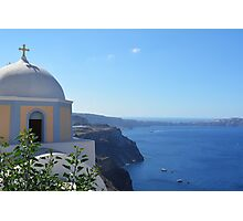 Church with dome in Santorini, Greece Photographic Print