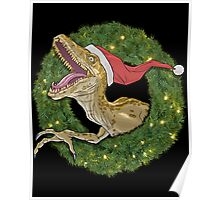 Velociraptor and Christmas Wreathe Poster
