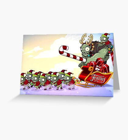 CHRISTMAS PLANTS ZOMBIES RAB 2 Greeting Card