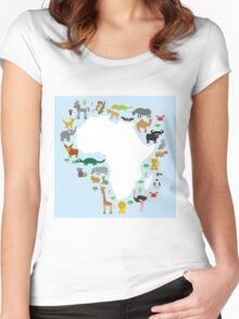 African White Map with Animals Women's Fitted Scoop T-Shirt